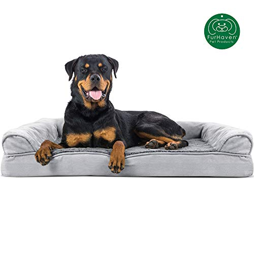 Furhaven Pet Dog Bed   Orthopedic Ultra Plush Faux Fur & Suede Sofa-Style Living Room Couch Pet Bed...