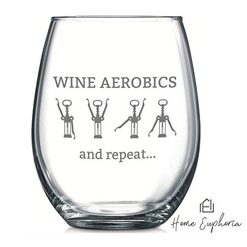 - Wine Aerobics | Funny Wine Glass | Stemless Wine Goblet | Perfect Wine Accessory | Unique Gift for Wine Lover, Best Friend, Bachelorette Party, Novelty Gift