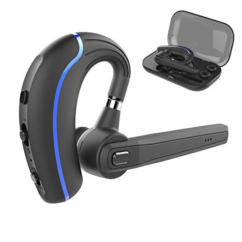 Bluetooth Headset,Wireless Earpiece V5.0 Hands Free Microphone (Super Sound Quality and 10 Hours Talk Time) for Business/Office/Driving (Blue 3)
