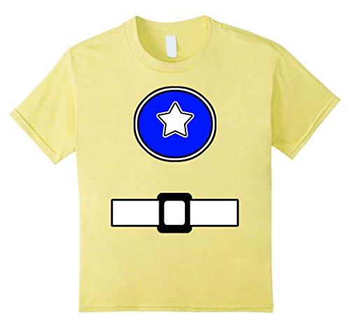 Kids Fun Super Generic Hero Costume Shirt Blue Emblem Belt Look 8 (Womens Yellow Power Ranger Costumes Tshirt)