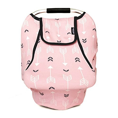 Stretchy Baby Car Seat Covers For Boys Girls, Infant Car Canopy Spring Autumn Winter ,Snug Warm Breathable Windproof, Adjustable Peep Window,Insect free,Universal Fit,Pink (Infant Cover)