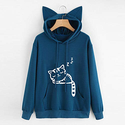 Tops Sweatshirt Womens Hoodie Long Cat Breathable Comfort Pullover Hooded Blouse Weight DOLDOA Blue Sleeve Light 7zdw4RnRq