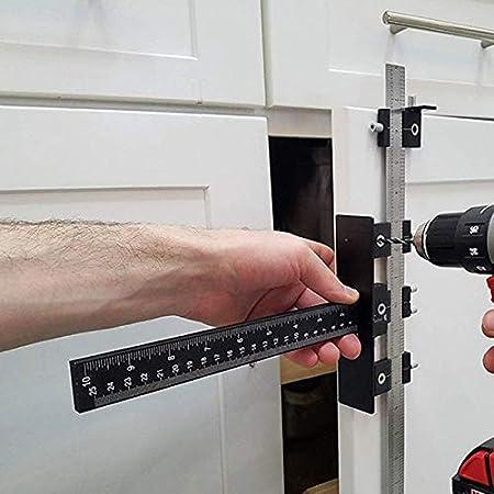Binchil para Gabinete de Herramientas Jig Drawer Perillas y Tiradores Plantilla de Herramienta para Gu/ía de Broca Ajustable para Manejar de Puertas con Pasadores,Mandriles y de Taladrado