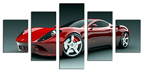 dzl art c40139b canvas print wood framed wall art ready to hang 60w x 32h by 5 set red sport car painting picture print on canvas