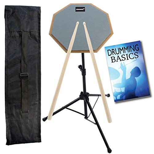 Drummer Practice Pad with Drum Accessories – 5 Pieces Include 8″ Practice Pad with Basic Drumming Techniques Booklet, 5A Wooden Drum Sticks and Stand with Carry Bag