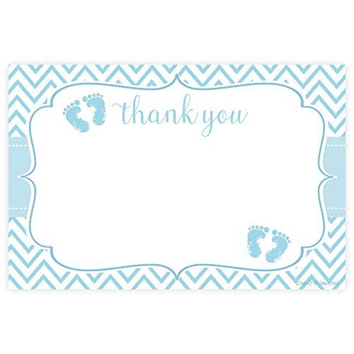 Blue Feet Boy Baby Shower Thank You Cards (20 Count) Baby Feet Flat Card