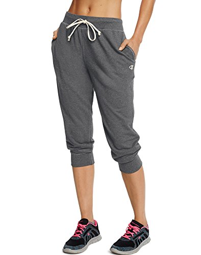 (Champion Women's French Terry Jogger Capri, Granite Heather,)