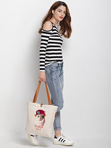 IN.RHAN Women's Cute Cat Graphic Canvas Tote Bag Casual Shoulder Bag Handbag