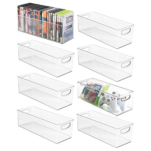 (mDesign Plastic Stackable Household Storage Organizer Container Bin with Handles - for Media Consoles, Closets, Cabinets - Holds DVD's, Video Games, Gaming Accessories, Head Sets - 8 Pack - Clear)