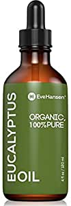 USDA Certified Organic Eucalyptus Essential Oil - Topical and Aromatherapy Essential Oil for Respiratory, Congestion and Sinus Relief - Treat Burns, Wounds and Minor Cuts - 4 Ounces - Eve Hansen