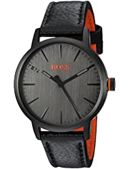 HUGO BOSS Mens COPENHAGEN Quartz Stainless Steel and Leather Casual Watch, Color:Black (Model: 1550055)