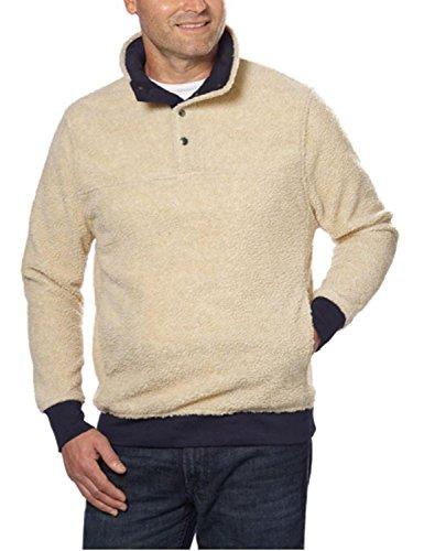 (Jachs Mens Cabin Sherpa Fleece Mock Neck Pullover (X-Large, Cream))