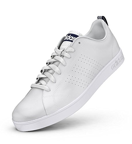 Leather Adidas Patent - adidas NEO Men's Advantage Clean VS Lifestyle Tennis Shoe,White/White/Collegiate Navy,9 M US
