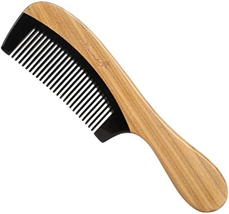 Breezelike Hair Comb - Fine Tooth Natural Sandalwood Buffalo Horn Comb - No Static Detangling Wooden Comb for Women, Men and Kids