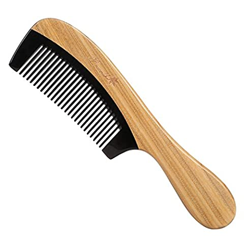 Breezelike Sandalwood Hair Comb - No Static Natural Buffalo Horn Teeth Comb - Handmade Wooden (Mini Roller Kit)
