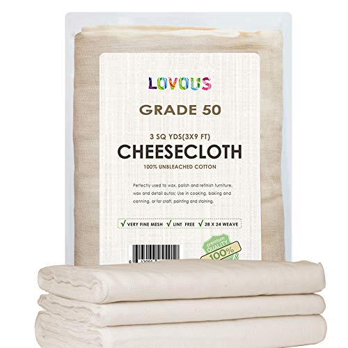 LOVOUS 100% Unbleached Cheesecloth 27 SQ Feet Ultra-Fine Grade 50 Butter Muslin Perfect for Cooking, Nut milk Filter, Cheese Making, Broth Strainer, Muslin Bag 3 Sq Yards (The Difference Between Chicken Stock And Broth)