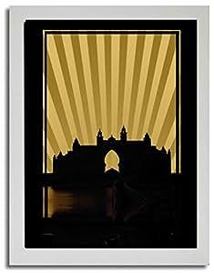 Atlantis - Sepia No Text F03-m (a4) - Framed
