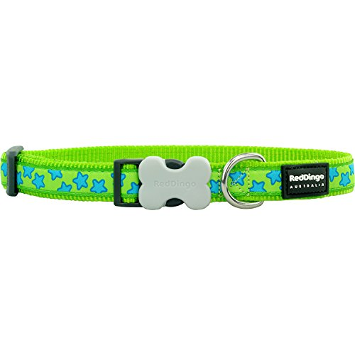 Red Dingo Lime Green with Blue Stars Dog Collar, Medium/Large/20mm