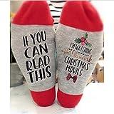 STARmoon 2 Pair Hallmark Movies Soft Socks Christmas Letters Printed Women Winter Warm Socks Gifts (Red Flower)