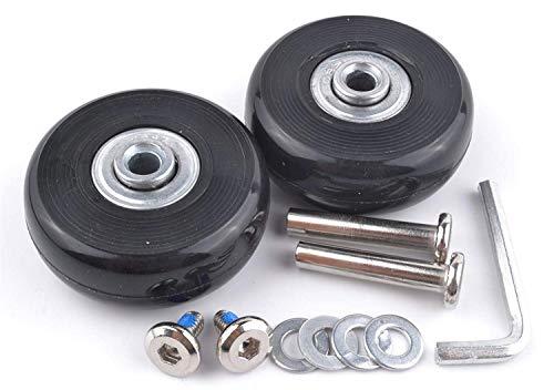 1 Pair Luggage Suitcase Replacement Wheels Axles 30 Deluxe Repair 50x18mm (Black) (Heys Luggage Replacement Wheels)
