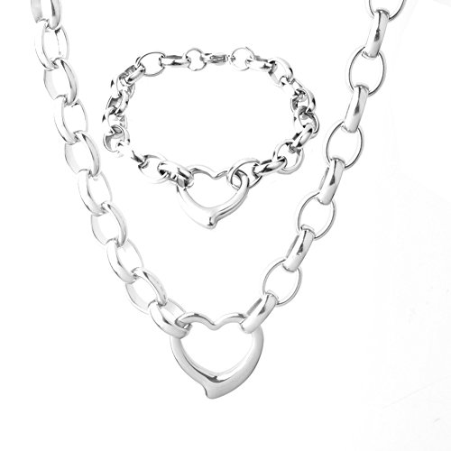 Womens Stainless Steel Silver Elegnat High Polished Heart Charm Cable Link Chain Necklace Bracelet Set ()