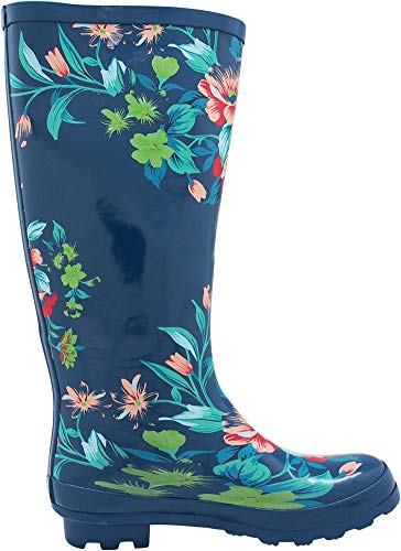 Waterproof amp; Wellie Hi Solids Blue Prints Women's and Floral Calf Matte Rainboots Glossy Hurricane 14 NORTY vxRn8qn
