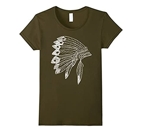 Womens Native American Feather Headdress Tee Native Indian T Shirt Medium Olive - Native American Indian Feathers