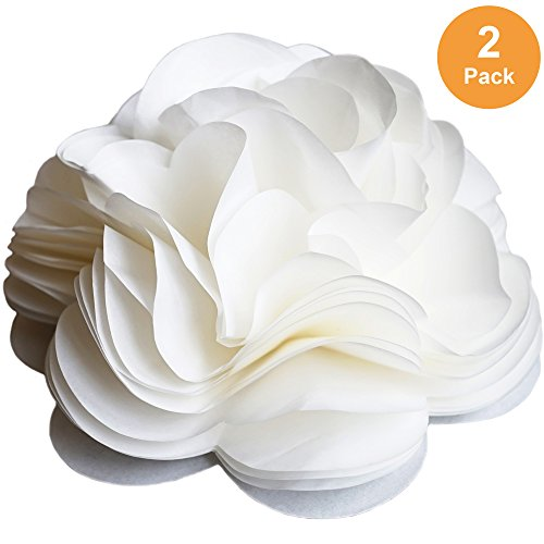 (Self Adhesive Ivory White Tissue Paper Flower Bow for Gift Wrapping & Decor (2 Count))