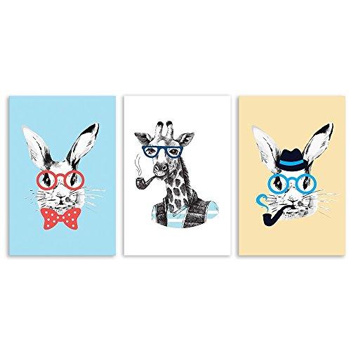 3 Panel Animal Cartoon Rabbits and Giraffe x 3 Panels