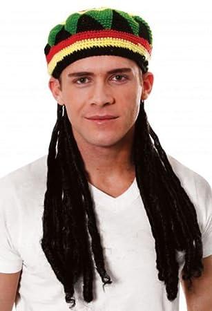 Fancy Dress Adults Knitted Rastafarian Jamaican Rasta Beanie Hat    Dreadlocks Hair cacf09c41f4f