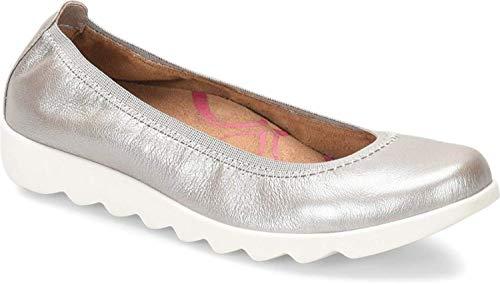 Comfortiva Womens Grace Closed Toe Slide Flats, Silver, Size 7.5