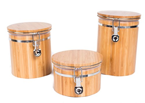 (BirdRock Home Bamboo Food Storage Canister with Lids | 3 pc Set | Small, Medium, Large)