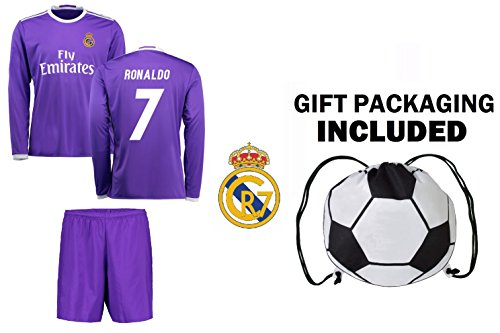 91d6f9e9dbc Fan Kitbag Cristiano Ronaldo  7 Real Madrid Long Sleeve Soccer Jersey    Shorts Kids Youth