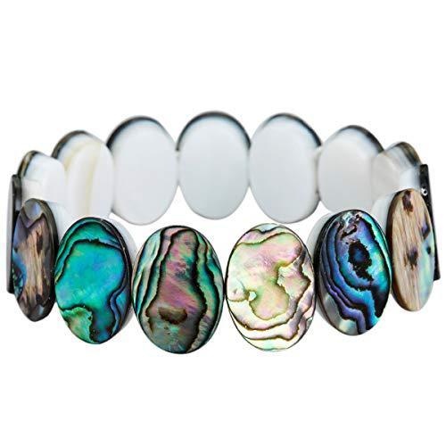 SUNYIK Abalone Shell Statement Bracelet for Women, Oval Bead Stretch Bangle for Girls, 7