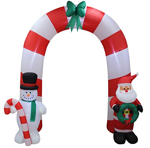Impact Canopy Inflatable Outdoor Christmas Decoration, Santa Snowman Arch, 8 Feet Tall