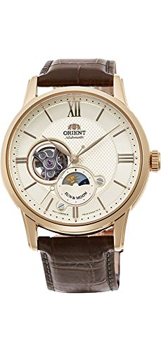 Orient RA-AS0004S10A Men's Gold Tone Sun and Moon Open Heart Leather Band Automatic Watch