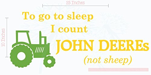 Bedroom Décor Count John Deeres Boy Wall Decals 2-Color 25x10-Inch Yellow/Lime Green