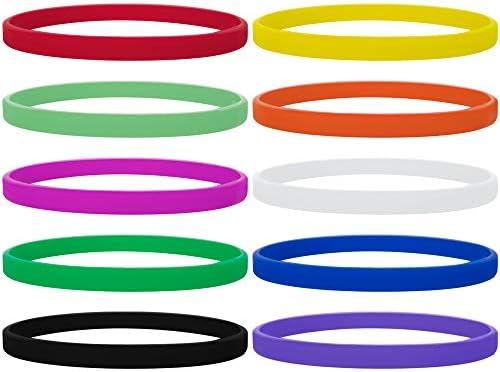 GOGO 100 pulseras finas de silicona, pulseras de goma, recuerdos de fiesta, infantil, color varios, tamaño talla única: Amazon.es: Deportes y aire libre