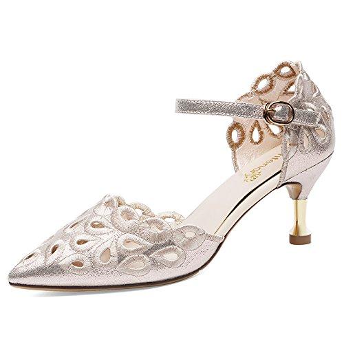 VIVIOO Sandalias De Mujer De Sandalias De Tacón Alto Zapatos De Tacón Alto De Verano Stiletto Tacones De Aguja Sandalias De Tacón Alto Zapatos De Mujer 1640 Gold