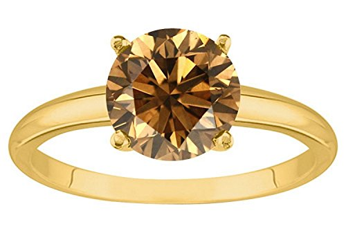 1 1/2 1.5 Carat 18K Yellow Gold Round Brown Diamond 4 Prong Solitaire Diamond Engagement Ring (AAA Quality)