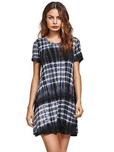 Romwe Loose Casual Short Sleeve Tie Dye Ombre Swing T Shirt Tunic Dress Black M
