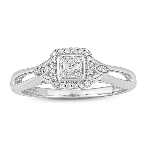 (Tesero Mio Sterling Silver 1/6 Carat Baguette and Round (I-J Color, I2-I3 Clarity) Natural Diamond Promise Ring for Her, US Size 5)