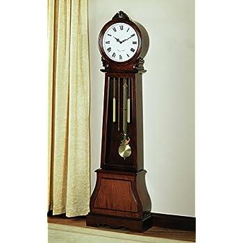 grandfather clock. coaster home furnishings 900723 transitional grandfather clock brown