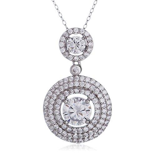 Drop Cubic Zirconia Beads Pendants (SilverLuxe Women's Rhodium Plated Sterling Silver Double Drop Cubic Zirconia Pendant 18