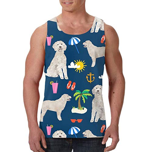 FANTASY SPACE Men Boys Goldendoodle Dog Beach Puppy Sleeveless Vest T-Shirts Summer Jersey Top Tees Regular-Fit Vest Exercise Yoga Quick Dry SweatproofWorkwear - 3D Printing