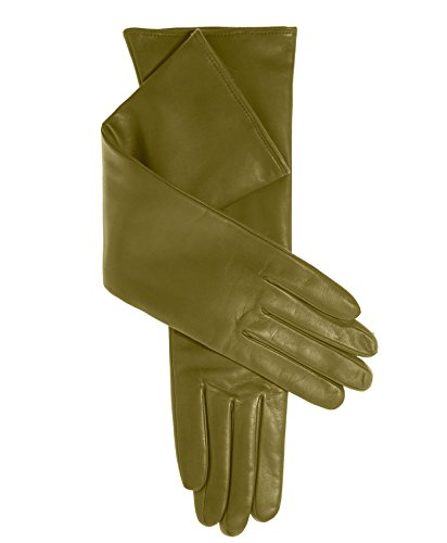 Fratelli Orsini Women's Italian ''8 Button Length'' Cashmere Lined Leather Gloves Size 6 Color Moss by Fratelli Orsini
