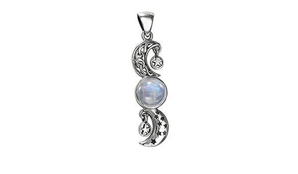 Sterling Silver Celtic Crescent Moon Stars Rainbow Moonstone Pentacle Pendant