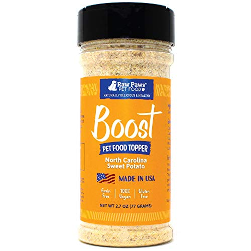 - Raw Paws Boost Flavor & Nutrition Pet Food Topper, Sweet Potato, 2.7-oz - Made in USA - Dog Food Toppers Grain Free - Natural Pet Food Flavoring - Cat Food Seasoning - Vegan Meal Enhancer Sprinkles