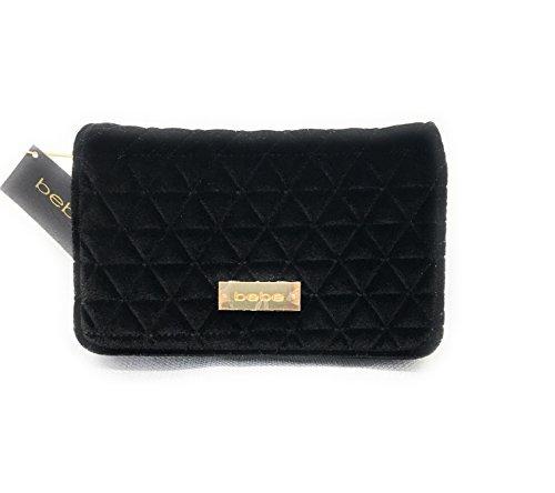 bebe Margeaux Crossbody Bag in Black Quilted Velvet, Handbag, Purse, (Bebe Clutch)
