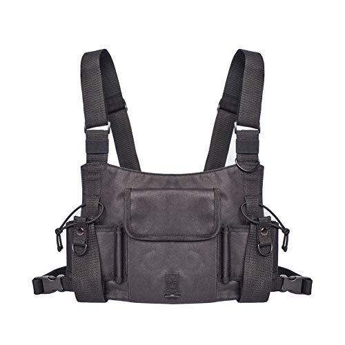 Universal Radio Harness Chest Rig Vest Hands Free Chest Pocket Tractical Harness Bag Two Way Radio Holster Holder for Men and Women Rescue Camping Hiking (HZC168)